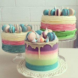 Meringue and macaron rainbow cake