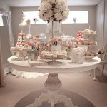 Dessert Table with cupcakes, macarons, cakepops & candies